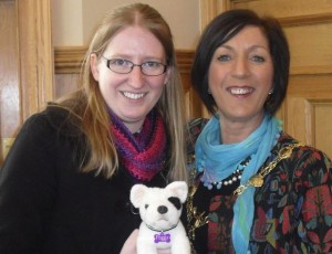 Foggy and his Northern Ireland host Claire Thomson meet the Mayor of Derry, Cllr Brenda Stevenson