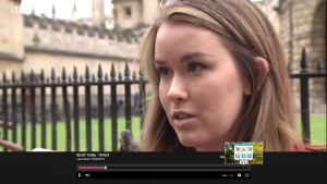 Lara does a BBC interview during last year's Oxford demo